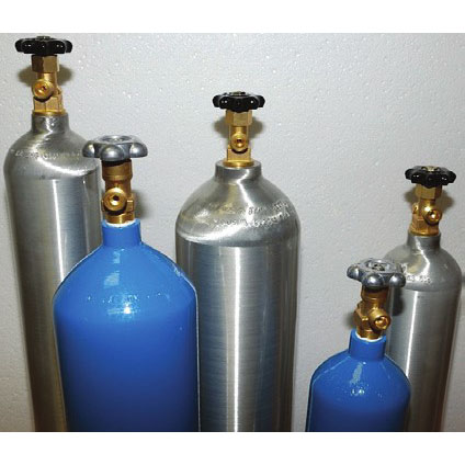CO2 Bottles Blue & Aluminum
